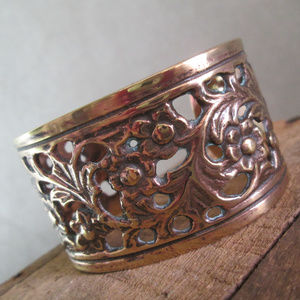 Flowering Vine Cuff Bracelet, Cast Bronze Vintage